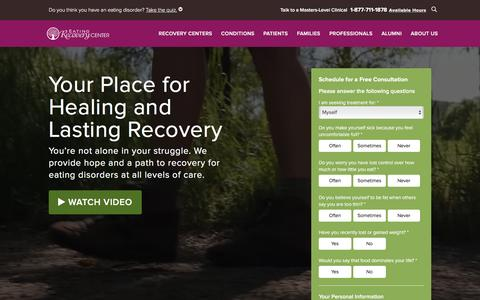 Screenshot of Home Page eatingrecoverycenter.com - Eating Recovery Center - Eating Disorder Treatment, Centers & Help| Eating Recovery Center - captured Jan. 19, 2017
