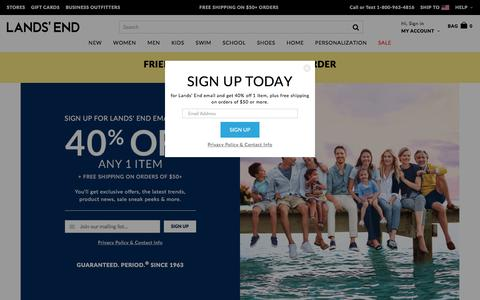 Screenshot of Signup Page landsend.com - Lands' End | Swimwear, Outerwear, Casual Clothing and more - captured May 14, 2017