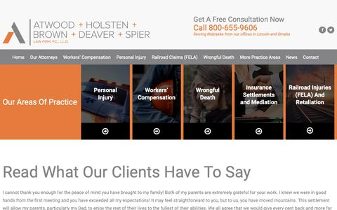 Screenshot of Testimonials Page atwoodlawyers.com - Testimonials | Atwood, Holsten, Brown, Deaver & Spier Law Firm, P.C., L.L.O | Lincoln, Nebraska - captured Oct. 4, 2018