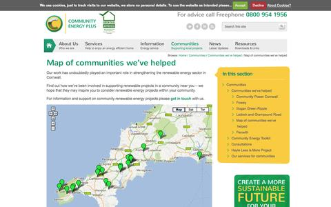 Screenshot of Maps & Directions Page cep.org.uk - Cornwall Renewables Map   Community Energy Plus : Independent Energy Experts - captured Oct. 8, 2014