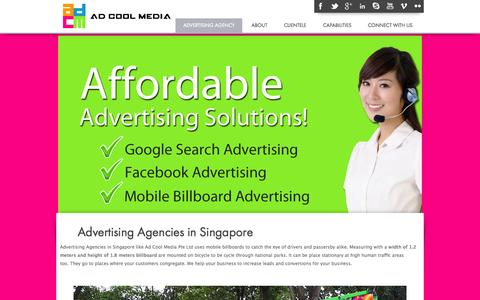 Screenshot of Home Page adcoolmedia.com - Advertising Agencies in Singapore | Advertising Company | Ad Agency - We Deliver Cool Ideas, That Work! - captured Oct. 4, 2014
