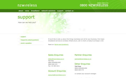 Screenshot of Support Page nzwireless.co.nz - Support - captured Oct. 7, 2014
