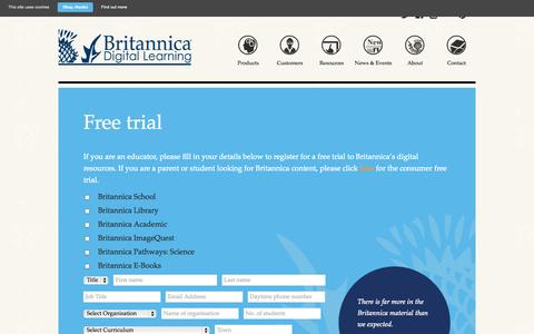 Screenshot of Trial Page britannica.co.uk - Free trial | Encyclopaedia Britannica Encyclopaedia Britannica - captured Oct. 2, 2014