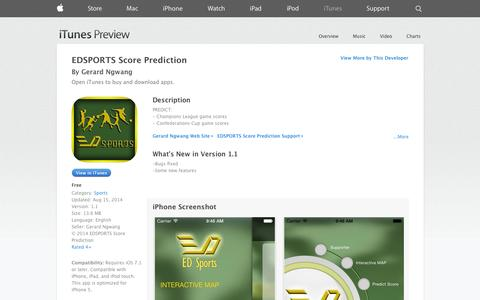 Screenshot of iOS App Page apple.com - EDSPORTS Score Prediction on the App Store on iTunes - captured Oct. 25, 2014