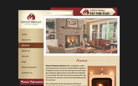 Screenshot of Services Page daytonfireplace.com - Dayton Fireplace Services | Ohio Fireplace Services - captured Sept. 25, 2018