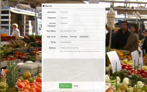 Screenshot of Signup Page foodtrade.com - FoodTrade - captured Jan. 8, 2016