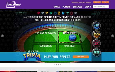 Screenshot of Home Page buzztime.com - Buzztime | Bar Trivia, Live Trivia, Cards & Sports Games - captured Dec. 3, 2015
