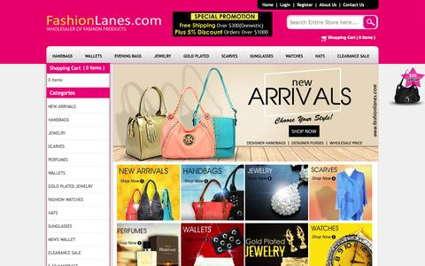 Screenshot of Home Page fashionlanes.com - Wholesale Handbags, Wholesale Purses, Designer Handbags - captured Jan. 21, 2015