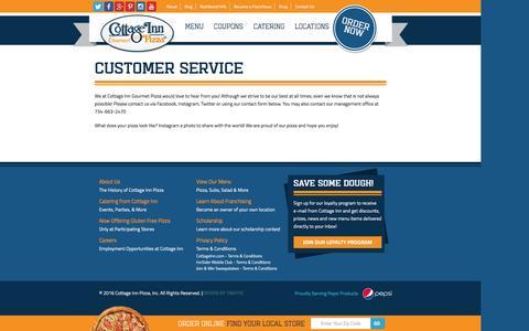 Screenshot of Support Page cottageinn.com - Customer Service | Cottage Inn Pizza - captured Jan. 15, 2016