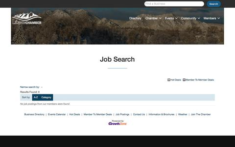 Screenshot of Jobs Page lafayettecolorado.com - Job Search - Lafayette Chamber of Commerce - captured March 24, 2018