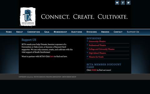 Screenshot of Support Page southcarolinatheatre.com - Support US - captured Oct. 27, 2014