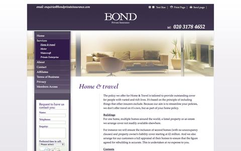 Screenshot of Services Page bondprivateinsurance.com - Bond Private Insurance - Services - captured Oct. 5, 2014