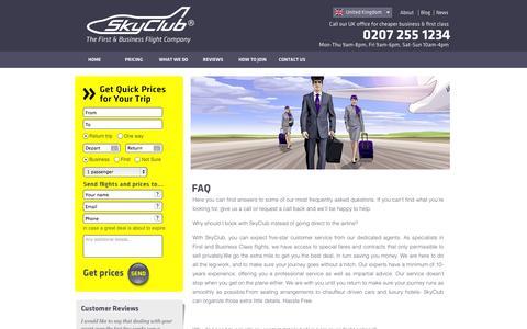 Screenshot of FAQ Page skyclub.com - SKYCLUB.COM ® | FAQ from the UK - captured Oct. 7, 2014