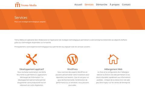 Screenshot of Services Page tremamedia.com - Services - captured Dec. 15, 2016