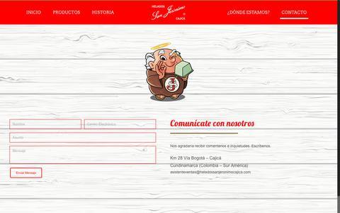 Screenshot of Contact Page heladossanjeronimocajica.com - CONTÁCTANOS – San Jeronimo - captured July 18, 2018