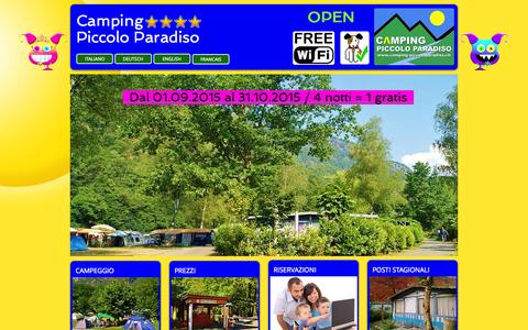 Screenshot of Home Page camping-piccoloparadiso.com - camping piccolo paradiso - captured Oct. 13, 2015