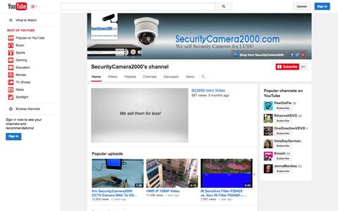 Screenshot of YouTube Page youtube.com - SecurityCamera2000's channel  - YouTube - captured Oct. 29, 2014