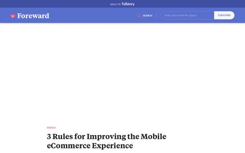 Screenshot of Blog fullstory.com - 3 Rules for Mobile E-Commerce—Make it Fast, Frictionless, and Measured - captured Feb. 5, 2020