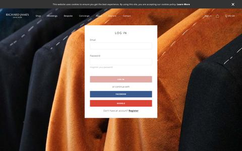 Screenshot of Login Page richard-james.com - Account Login | Safe and Secure | Richard James Savile Row - captured May 29, 2019