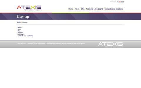 Screenshot of Site Map Page atexis.eu - Sitemap - captured Oct. 1, 2014