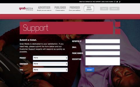 Screenshot of Support Page grab-media.com - Grab | Support - captured Sept. 13, 2014