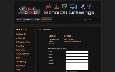 Screenshot of Contact Page technicaldrawings.co.uk - Contact Us > - captured Oct. 26, 2014