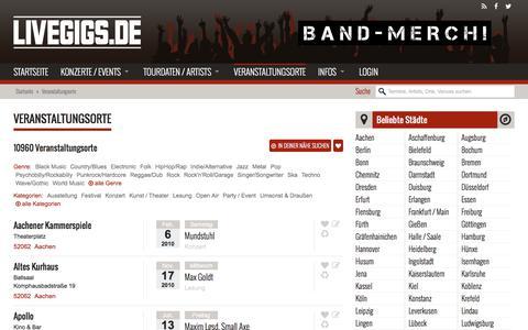 Screenshot of Locations Page livegigs.de - Veranstaltungsorte - Livegigs - captured July 1, 2018