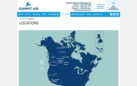Screenshot of Locations Page flysummitair.com - Locations - Summit Air - captured Feb. 6, 2016