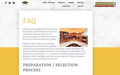 Screenshot of FAQ Page ttsgranite.com - FAQ - captured Nov. 7, 2018