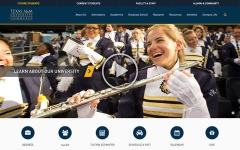 Screenshot of Home Page tamuc.edu - Texas A&M University-Commerce - captured Feb. 14, 2016
