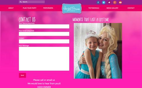 Screenshot of Contact Page fairytaleprincessevents.com - Contact - Fairy Tale Princess Events - captured Aug. 5, 2016