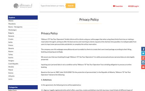 Screenshot of Privacy Page albtoursd.com - Privacy Policy, AlbtoursD, incoming tour operator, tours and activities - captured Oct. 3, 2018