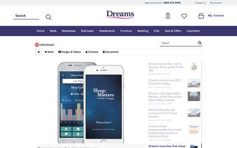 Screenshot of Press Page dreams.co.uk captured Oct. 9, 2018