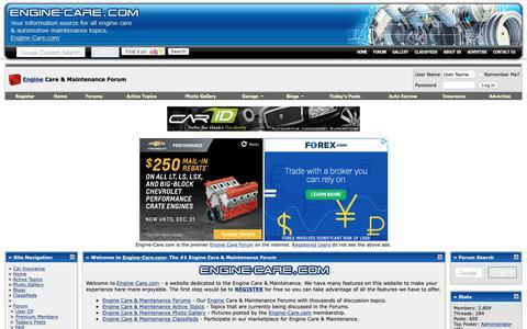 Screenshot of Home Page engine-care.com - Engine Care & Maintenance Forum - captured Oct. 29, 2018