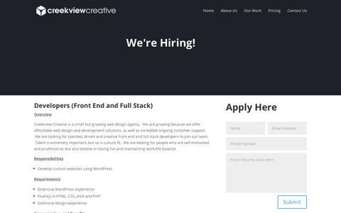 Screenshot of Jobs Page creekviewcreative.com - Careers | Creekview Creative - captured Dec. 6, 2018