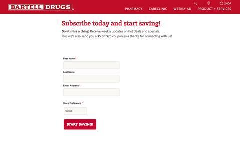 Screenshot of Signup Page bartelldrugs.com - Bartell Drugs Email Newsletter Sign Up - captured Jan. 8, 2017