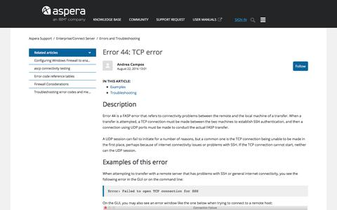Screenshot of Support Page asperasoft.com - Error 44: TCP error – Aspera Support - captured Feb. 9, 2018
