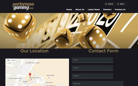 Screenshot of Contact Page portomasogaming.com - Contact | Portomaso Gaming - captured Oct. 8, 2016