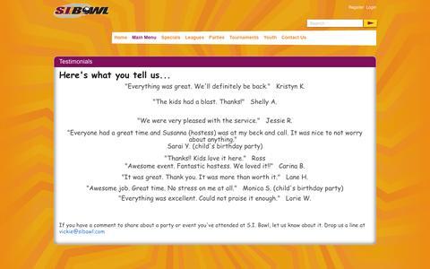 Screenshot of Testimonials Page sibowl.com - S I Bowl > Main Menu > Testimonials - captured Nov. 5, 2014