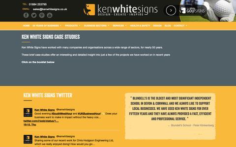 Screenshot of Case Studies Page kenwhitesigns.co.uk - case studies | Ken White Signs & Graphics - captured Oct. 15, 2018