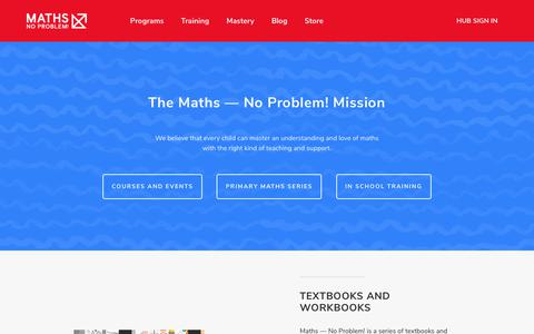 Screenshot of Home Page Site Map Page mathsnoproblem.com - Maths – No Problem! : Maths — No Problem! - captured Sept. 20, 2018
