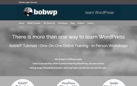 Screenshot of Home Page bobwp.com - WordPress Training Tutorials and Workshops - captured Sept. 19, 2014