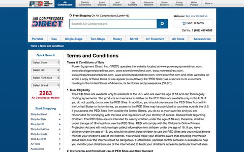 Screenshot of Terms Page aircompressorsdirect.com - Terms of Use @ Air Compressors Direct.com - Your Online Air Compressor Superstore - captured July 29, 2018