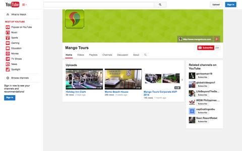 Screenshot of YouTube Page youtube.com - Mango Tours  - YouTube - captured Oct. 23, 2014