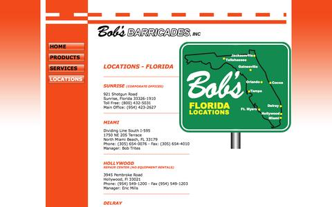 Screenshot of Locations Page bobsbarricades.com - Bob's Barricades - Products - captured Oct. 5, 2014