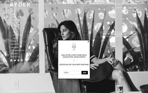Screenshot of Home Page ryderlabel.com - RYDER - captured Sept. 11, 2015
