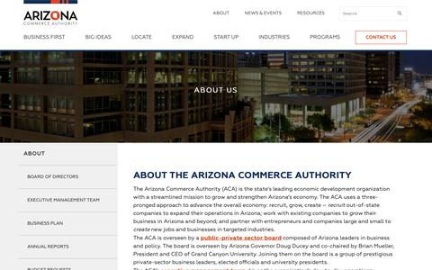 Screenshot of About Page azcommerce.com - Who We Are - About The Arizona Commerce Authority - captured Oct. 2, 2018