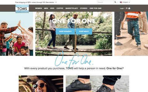 Screenshot of Home Page toms.com - TOMS Official Store   TOMS.com - captured Sept. 17, 2014