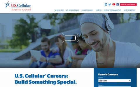 Screenshot of Home Page uscellular.jobs - U.S. Cellular Careers - captured Oct. 1, 2015