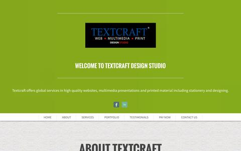 Screenshot of About Page Services Page Testimonials Page textcraft.com - Textcraft | Servicing clients globally - Just another WordPress site - captured Oct. 26, 2014